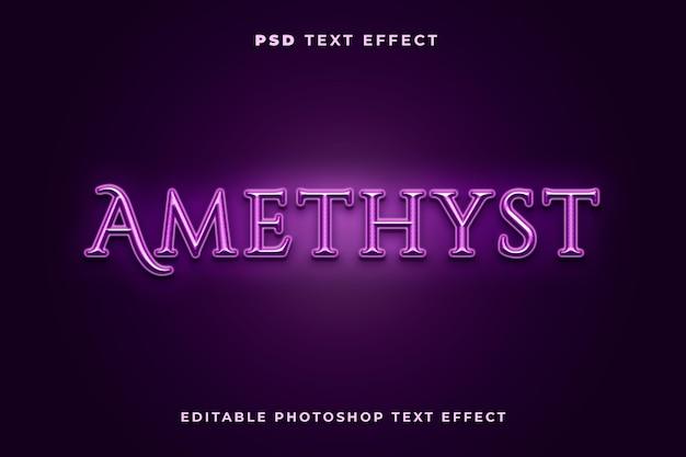 Modelo de efeito de texto ametista com cor roxa