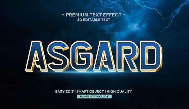 Modelo de efeito de texto asgard 3d com reflexo
