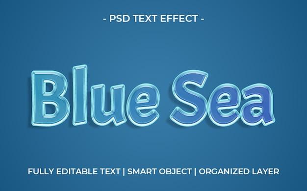Modelo de efeito de texto azul do mar