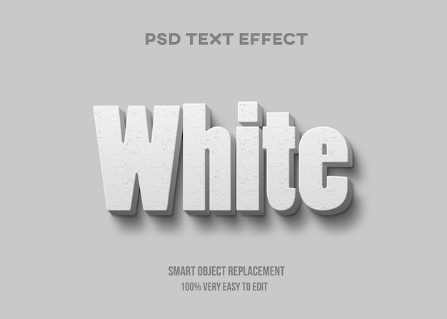Modelo de efeito de texto branco realista