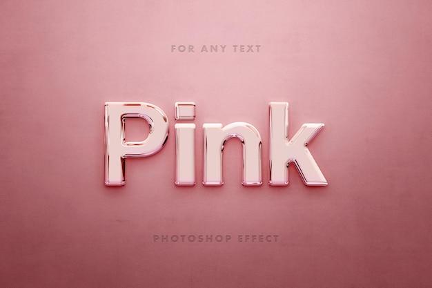 Modelo de efeito de texto brilhante 3d rosa