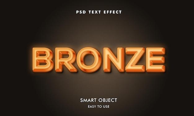Modelo de efeito de texto bronze com fundo escuro