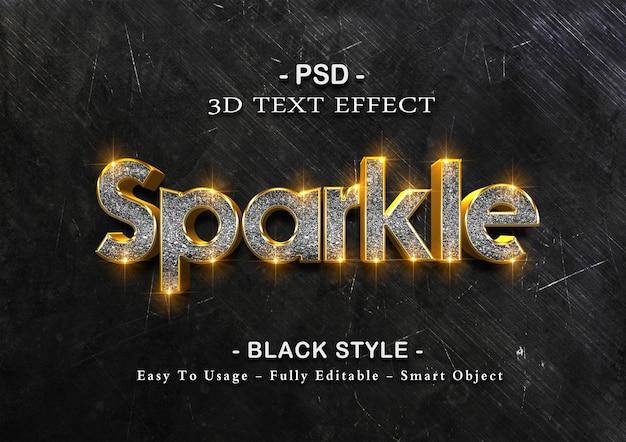 Modelo de efeito de texto com brilho preto