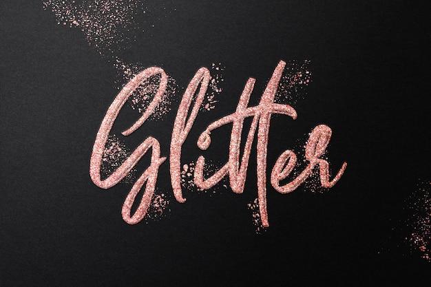 Modelo de efeito de texto com glitter em ouro rosa