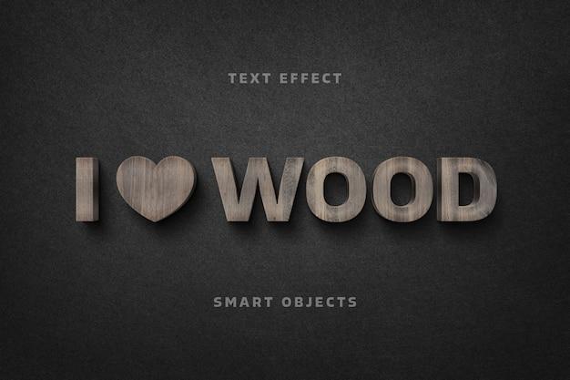 Modelo de efeito de texto com letras de madeira
