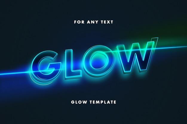 Modelo de efeito de texto com letras de néon brilhante