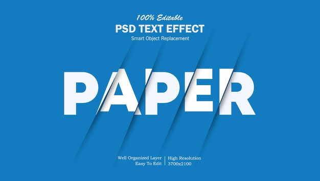 Modelo de efeito de texto cortado em papel