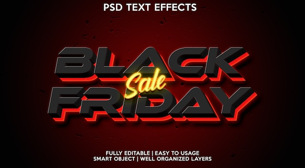Modelo de efeito de texto da black friday