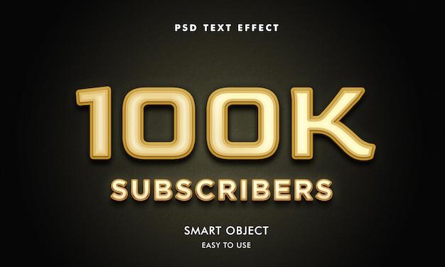 Modelo de efeito de texto de 100 mil assinantes com fundo escuro