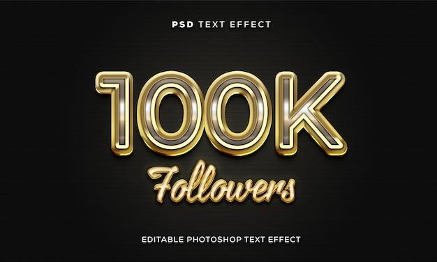 Modelo de efeito de texto de 100 mil seguidores com efeito dourado