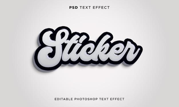 Modelo de efeito de texto de adesivo 3d