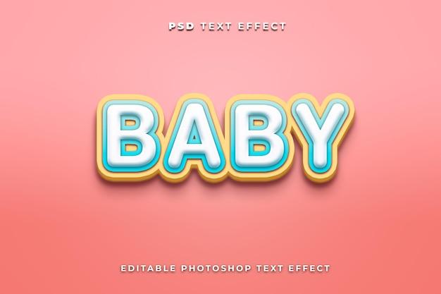 Modelo de efeito de texto de bebê com fundo rosa