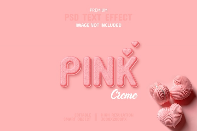 Modelo de efeito de texto de biscoito creme rosa editável