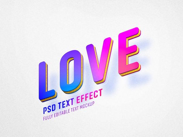 Modelo de efeito de texto de dia dos namorados amor vívido