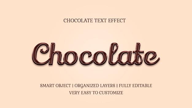 Modelo de efeito de texto de doces de chocolate estilo