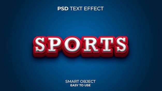 Modelo de efeito de texto de esportes com cores vermelho e azul