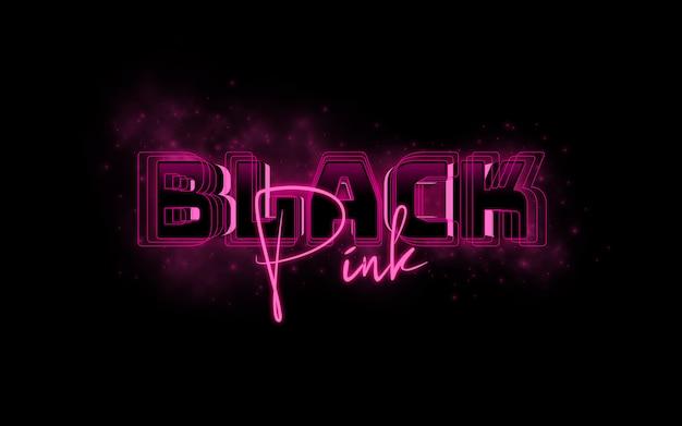 Modelo de efeito de texto de estilo rosa preto