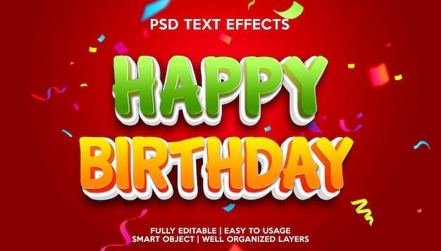 Modelo de efeito de texto de feliz aniversário