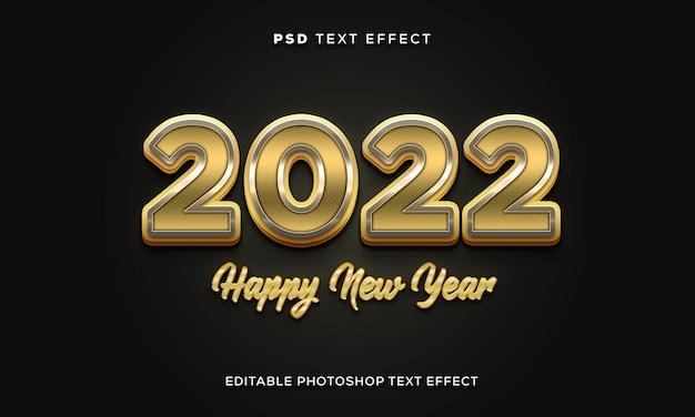 Modelo de efeito de texto de feliz ano novo 3d com cor dourada