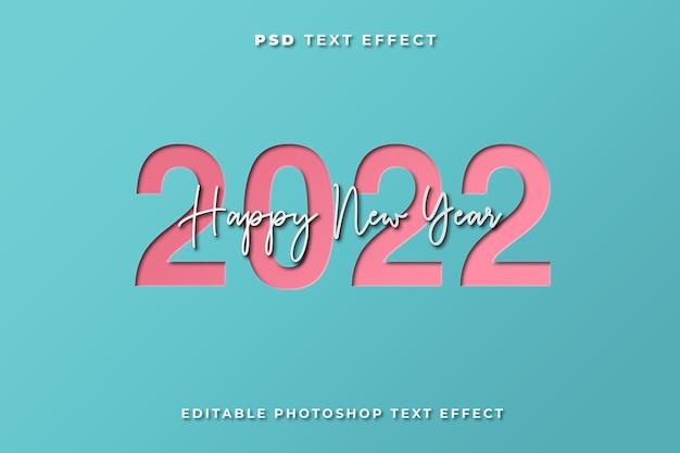 Modelo de efeito de texto de feliz ano novo 3d com estilo de corte de papel