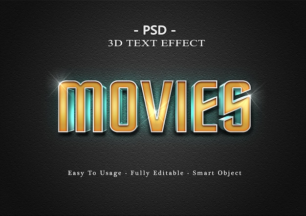 Modelo de efeito de texto de filmes 3d