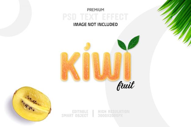 Modelo de efeito de texto de fruta kiwi editável