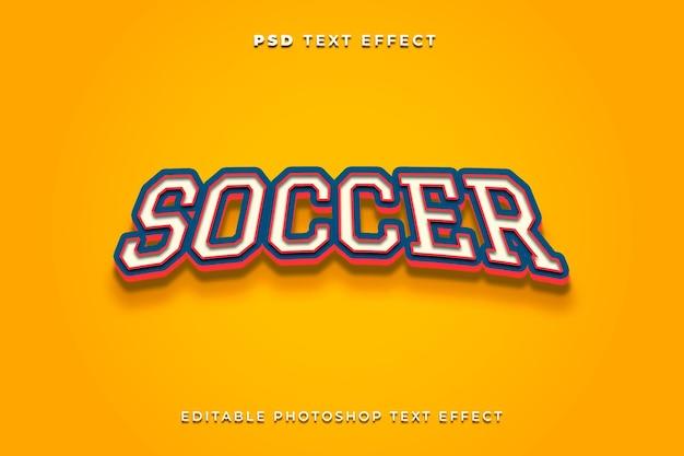 Modelo de efeito de texto de futebol com fundo amarelo