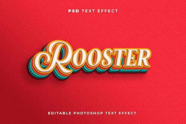 Modelo de efeito de texto de galo 3d com estilo vintage