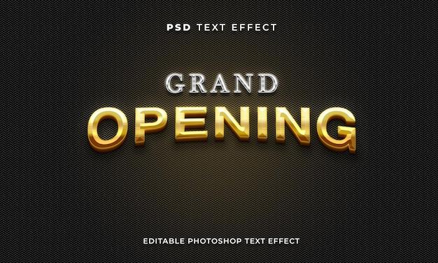 Modelo de efeito de texto de grande inauguração com efeito ouro e prata