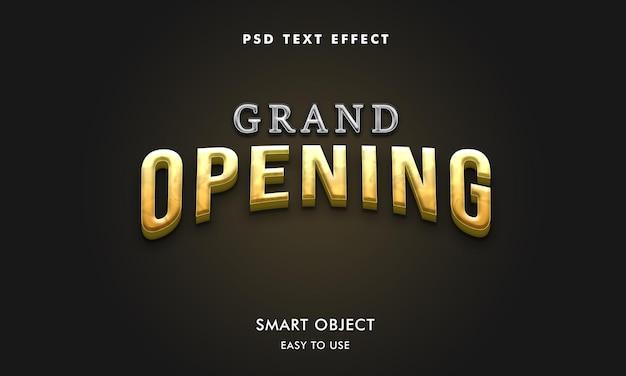 Modelo de efeito de texto de inauguração 3d com cores ouro e prata
