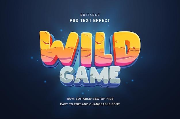 Modelo de efeito de texto de jogo selvagem