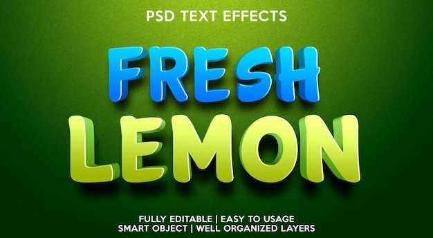 Modelo de efeito de texto de limão fresco