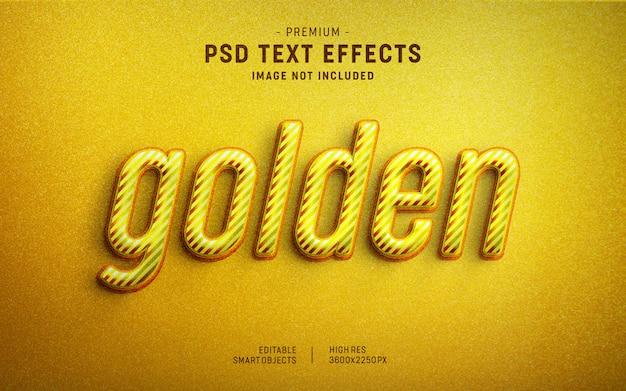 Modelo de efeito de texto de listras douradas