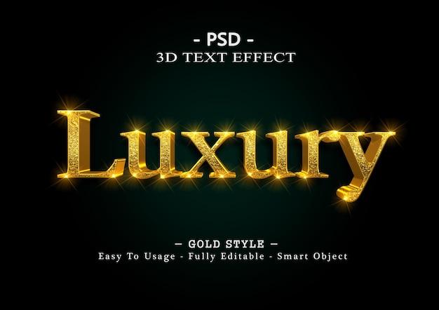 Modelo de efeito de texto de luxo 3d ouro