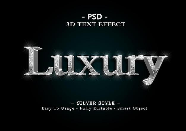 Modelo de efeito de texto de luxo 3d prata