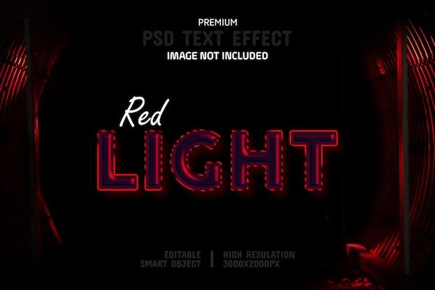 Modelo de efeito de texto de luz de néon vermelho editável