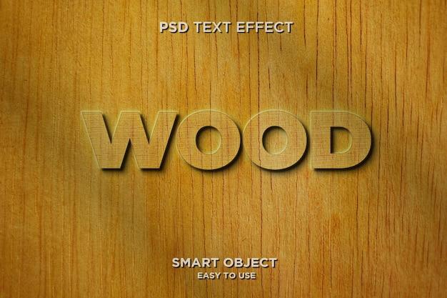 Modelo de efeito de texto de madeira 3d