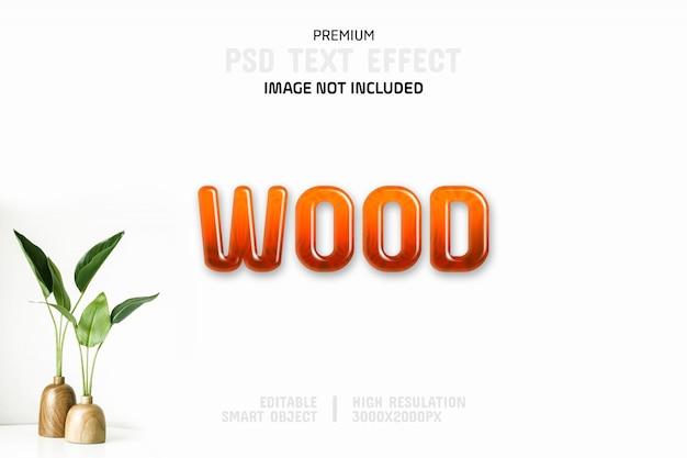 Modelo de efeito de texto de madeira editável