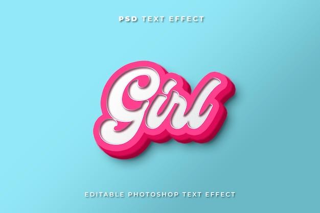 Modelo de efeito de texto de menina 3d com cores rosa e azul