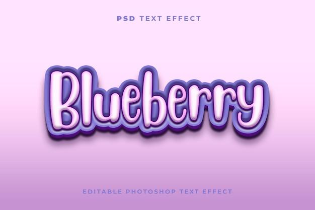 Modelo de efeito de texto de mirtilo 3d
