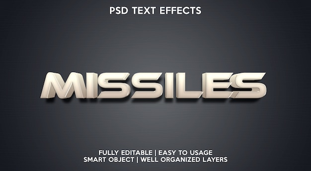 Modelo de efeito de texto de mísseis
