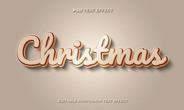 Modelo de efeito de texto de natal 3d com cor dourada