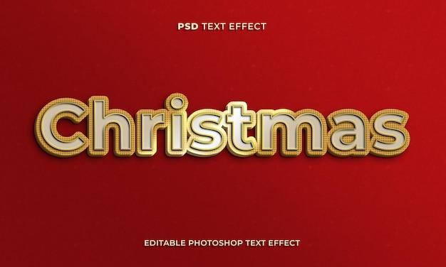 Modelo de efeito de texto de natal 3d com efeito dourado e fundo vermelho