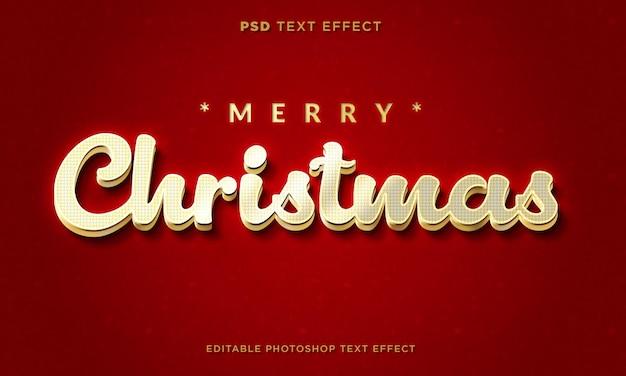 Modelo de efeito de texto de natal 3d com fundo vermelho