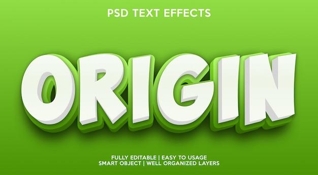 Modelo de efeito de texto de origem