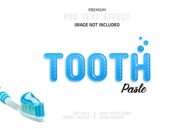 Modelo de efeito de texto de pasta de dente editável