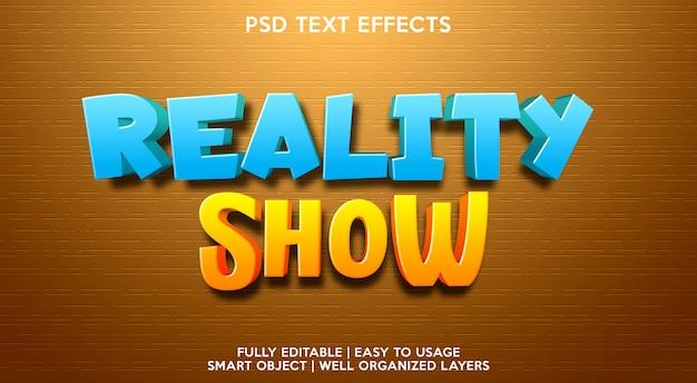 Modelo de efeito de texto de reality show