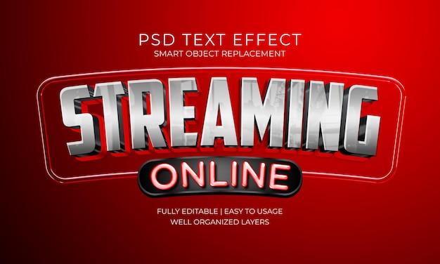 Modelo de efeito de texto de streaming online Psd Premium