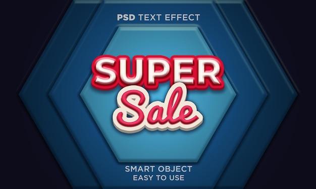 Modelo de efeito de texto de super venda 3d