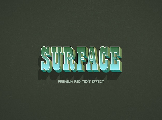 Modelo de efeito de texto de superfície